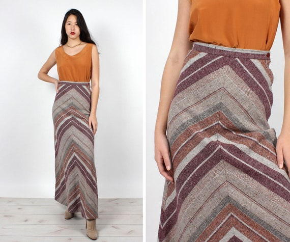 Heathered Chevron Maxi Skirt XS • 70s Skirt • Vint