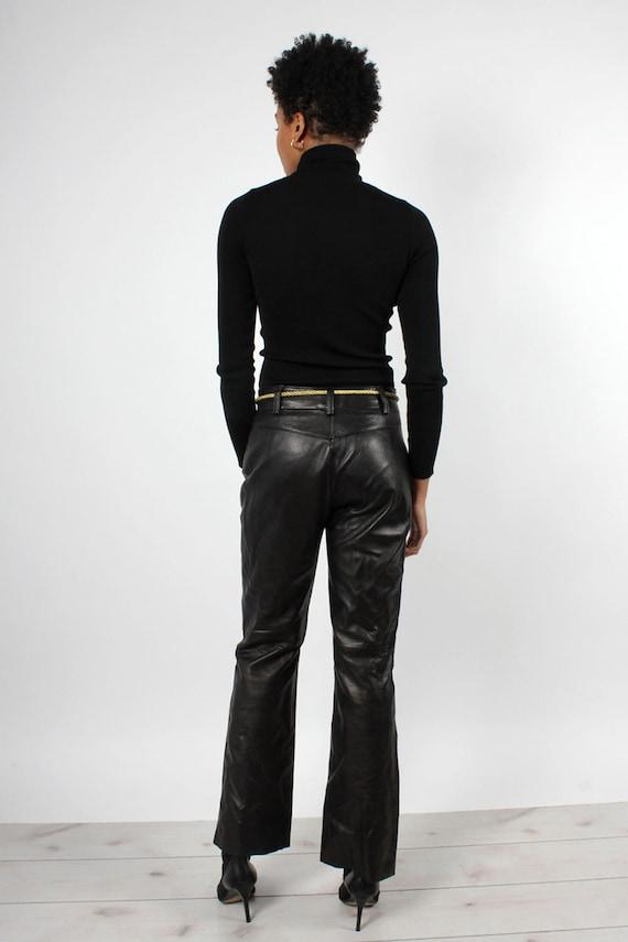 Black Leather Zip-Front Pants M • 90s Pants • Vin… - image 4