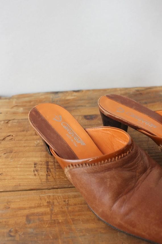 Mahogany Leather Mules 7 • 90s Mules • Vintage Mu… - image 5