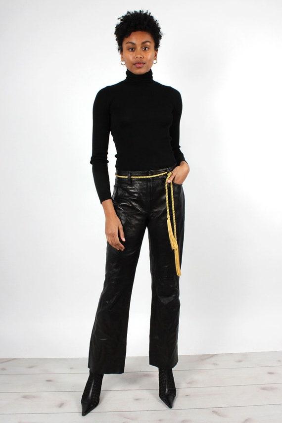 Black Leather Zip-Front Pants M • 90s Pants • Vin… - image 2