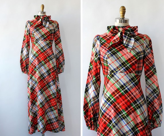 Clobber Of London Plaid Pussybow Dress XS • 70s D… - image 1