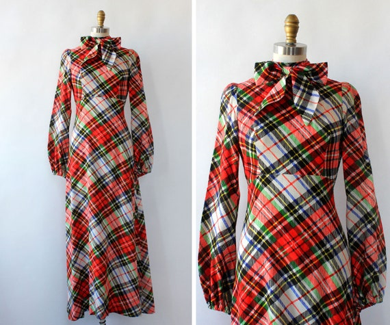 Clobber Of London Plaid Pussybow Dress XS • 70s Dr