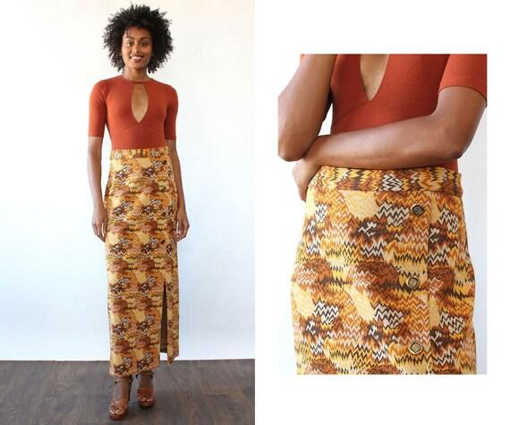 Trippy Chevron Knit Maxi S/M • 70s Maxi Skirt • Vi