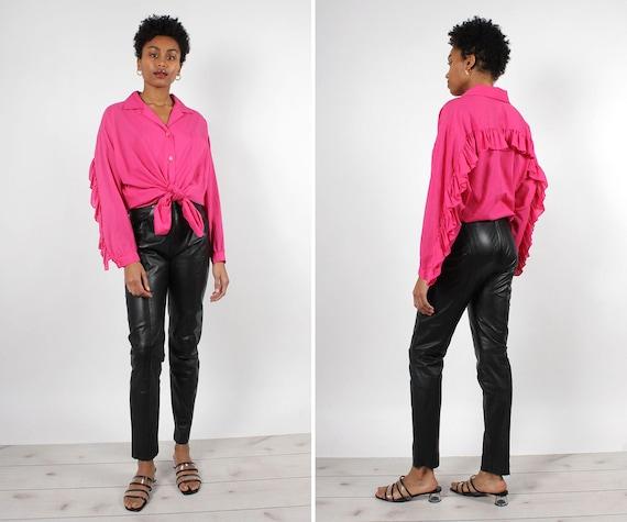 Black Leather Zip-Back Pants S/M • 90s Pants • Bl… - image 1