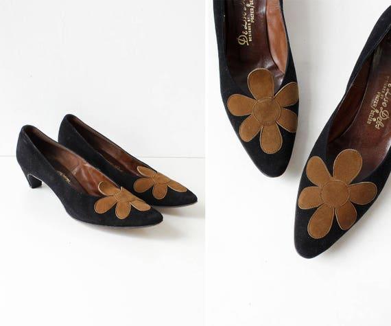 795b3a64eb1 60s Heels 7 Vintage Kitten Heels Suede Applique Floral
