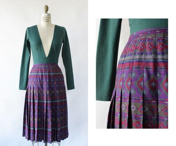 Celine Pleated Skirt XS • 80s Skirt • Purple Pleat