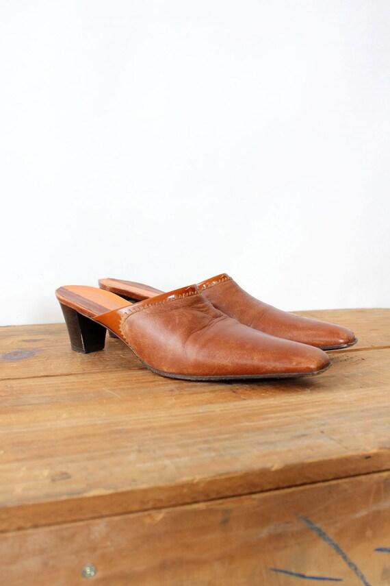 Mahogany Leather Mules 7 • 90s Mules • Vintage Mu… - image 4