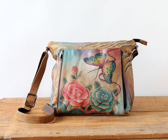 Handpainted Leather Butterfly Purse • 80s Purse •