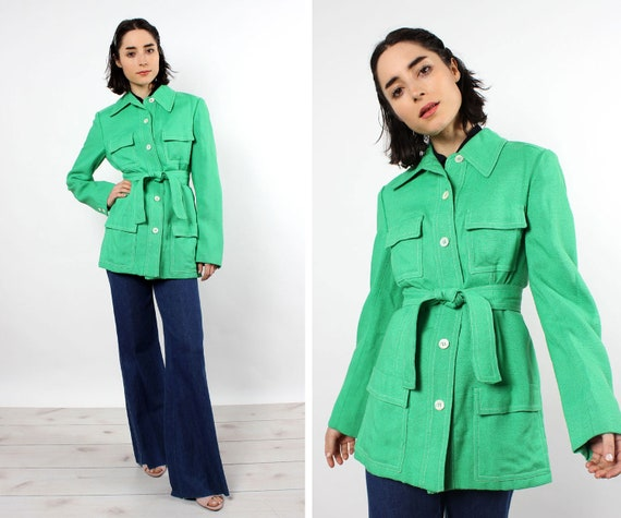 Grass green Safari Jacket M • 70s Jacket • Green V