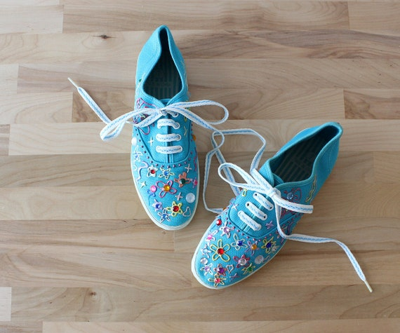 Jenny Embellished Sneakers 7 • 80s Sneakers • Vint