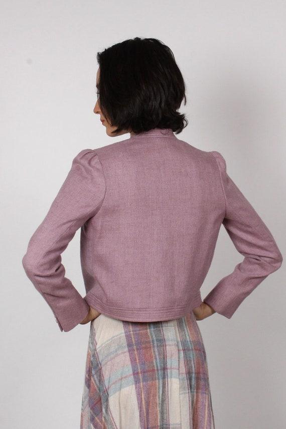 Heathered Mauve Crop Blazer XS • 80s Blazer • Vin… - image 6