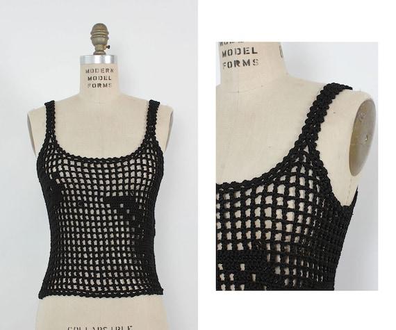 Open Crochet Tank S • 70s Crochet Top • Black Croc