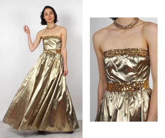 Gunne Sax Gold Lamé Gown XS • 80s Dress • Vintage