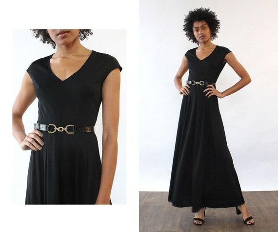 Simple Black Jersey Maxi S/M • Vintage Jersey Dres