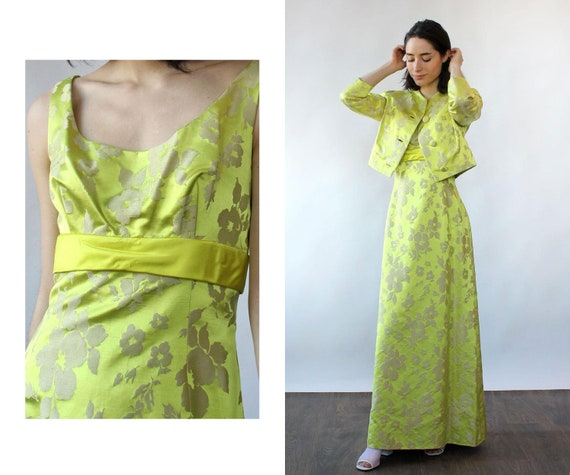 Chartreuse Silk Brocade Ensemble S-S/M • 60s Two … - image 1