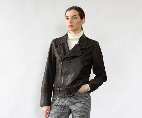 Ralph Lauren Leather Moto Jacket M • Dark Brown Le