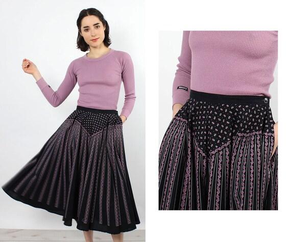 Ditsy Lanz Full Circle Skirt XS • 70s Skirt • Vint