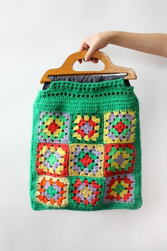 Granny Square Tote Bag • 70s Tote Bag • Vintage Cr