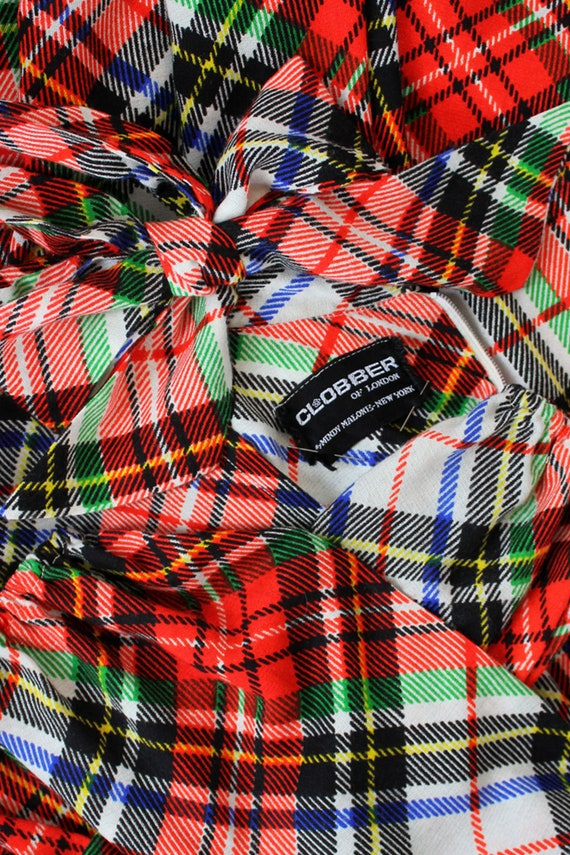 Clobber Of London Plaid Pussybow Dress XS • 70s D… - image 2