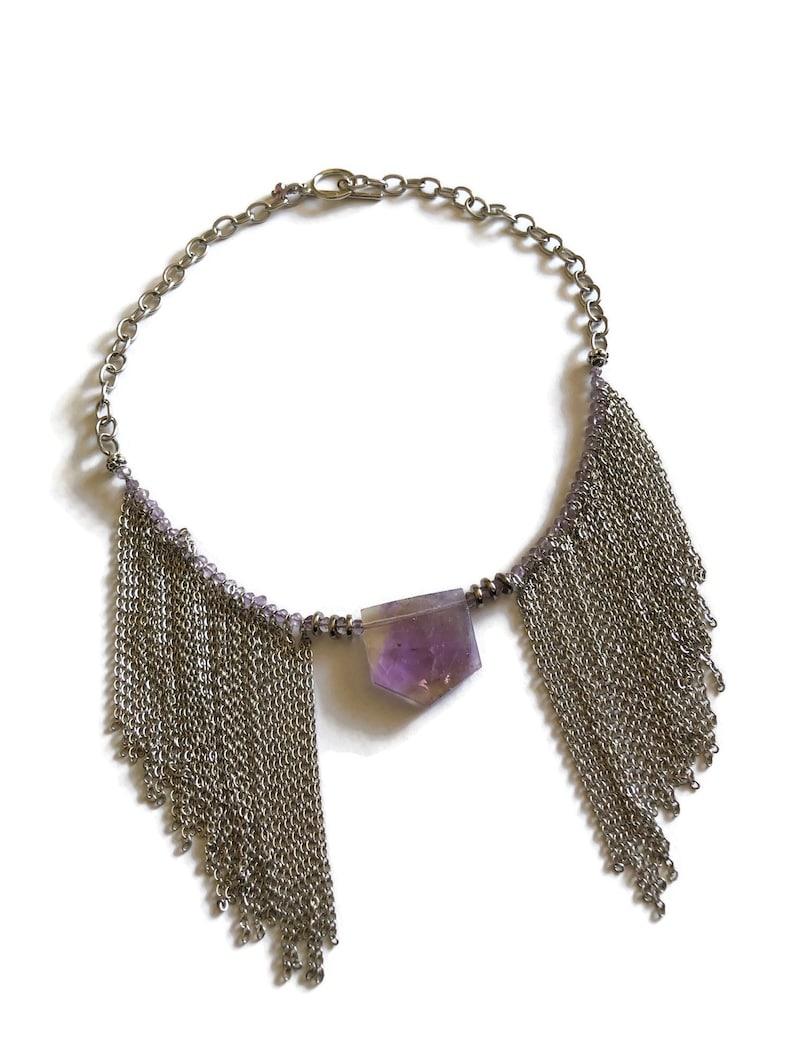 Amethyst and Ametrine chain bib necklace
