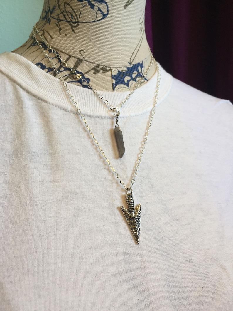 Smokey quartz and arrowhead double strand necklace