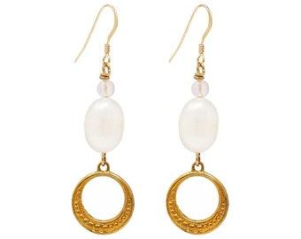 Fey – 1970s Pearl and Hoop Earrings