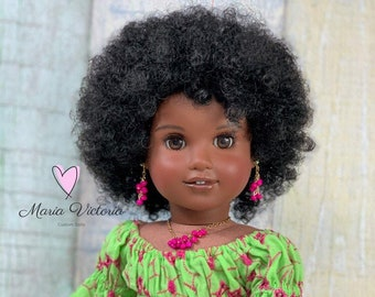 Premium Whitney in Black Short Afro Replacement Wig for American Girl Doll