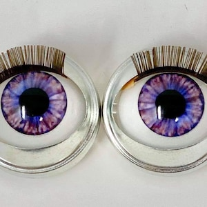 4 Pieces for Dolls and Sculptures Glass Purple Eyes Glass Eyes Made in USA