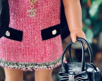 "Exclusive ""Vivian"" Handbag Purse in Black for American Girl, 1/3 BJD, and Smart Dolls"