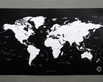 Us scratch off world map the united states of america a4 etsy bg black and white world map unique design poster gumiabroncs Gallery