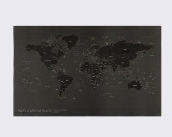 Black world map | Etsy