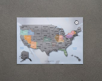 US Scratch Off World Map - The United States of America A4 size