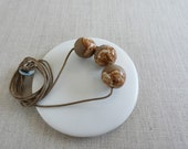 Snowball Raku Stoneware Bead Necklace Last 50% OFF SALE