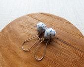Polka Dot Indigo Pinecone Dangle Earrings