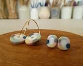 Tambourine Porcelain Stud Earrings