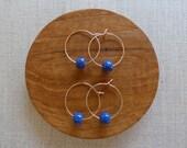 Gold Speckled Indigo Bead Hoop Earrings Sample