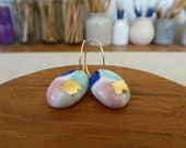 Watercolour Oval Hoop Ear...
