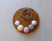 Peach and Mustard Ceramic Beads Necklace SALE