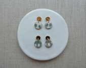 Moon & Inlay Dot Disc Stud Earrings in 2 colours