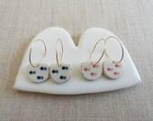 Butterfly Inlay Halfmoon Drop Earrings