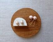 Peach Lustre Polka Dot Kidney Wire Earrings