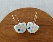 Polka Dot Inlay Hoop Earrings