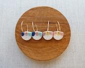 Dango Half Moon Disc Hoop Earrings