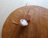 2 Tone Flower Hoop Earrings