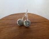 Gold Speckled Bagel Hoop Earrings in Silver Blue SALE