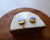 Gold Dip Indigo Yoroke Line Round Disc Stud Earrings