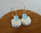Gem and Speckled Half Moon Hoop Earrings