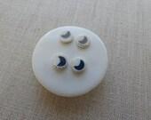 Crescent Moon Inlay Stud Earrings