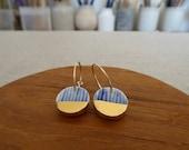 Yoroke Line Gold Dipped Disc Hoop Earrings