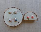 Gold Lined Mountain Stud Earrings